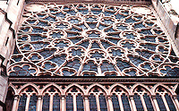 Paris: Basilica of Saint-Denis--rose window of South Transept. Photo '90.
