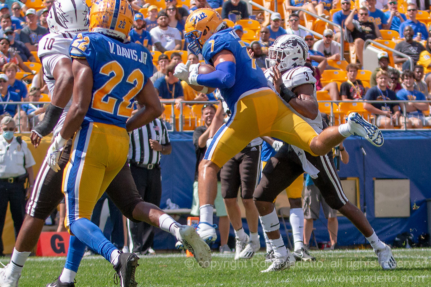 Pitt tight end Lucas Krull makes a two-yard touchdown reception. The Western Michigan University Broncos defeated the Pitt Panthers 44-41 at Heinz Field, Pittsburgh, Pennsylvania on September 18, 2021.