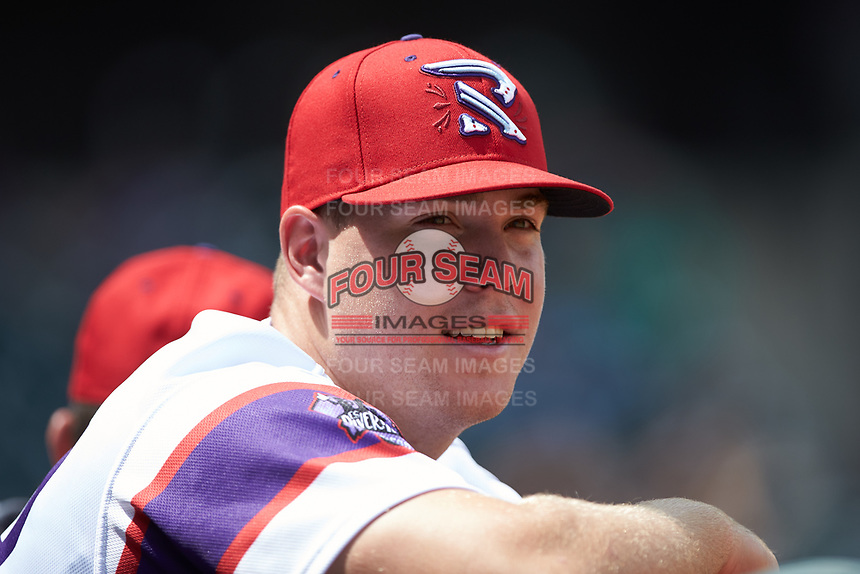 Gavin Sheets (24) of the Winston-Salem Rayados during the game against the Potomac Nationals at BB&T Ballpark on August 12, 2018 in Winston-Salem, North Carolina. The Rayados defeated the Nationals 6-3. (Brian Westerholt/Four Seam Images)