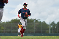 FCL Red Sox second baseman Antoni Flores (2) jogs to the dugout during a game against the FCL Pirates Gold on July 1, 2021 at Pirate City in Bradenton, Florida.  (Mike Janes/Four Seam Images)