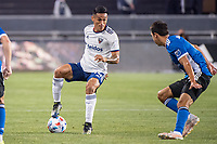 SAN JOSE, CA - MAY 01: Andy Najar #14 of DC United controls the ball during a game between San Jose Earthquakes and D.C. United at PayPal Park on May 01, 2021 in San Jose, California.