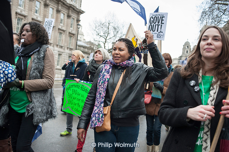 Teachers march in London during a one-day national strike called by the NUT over pay structures, pensions and working hours.