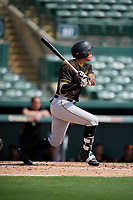 Pittsburgh Pirates designated hitter Bligh Madris (7) follows through on a swing during a Florida Instructional League game against the Baltimore Orioles on September 22, 2018 at Ed Smith Stadium in Sarasota, Florida.  (Mike Janes/Four Seam Images)