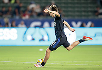 CARSON, CA - SEPTEMBER 21: Lassi Lappalainen #21 of the Montreal Impact warms up during a game between Montreal Impact and Los Angeles Galaxy at Dignity Health Sports Park on September 21, 2019 in Carson, California.