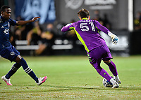LAKE BUENA VISTA, FL - JULY 26: Thomas Hasal of Vancouver Whitecaps FC cuts the ball across during a game between Vancouver Whitecaps and Sporting Kansas City at ESPN Wide World of Sports on July 26, 2020 in Lake Buena Vista, Florida.