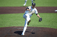 Vanderbilt Commodores starting pitcher Jack Leiter (22) follows through on his final pitch against the South Carolina Gamecocks at Hawkins Field on March 20, 2021 in Nashville, Tennessee. Leiter pitched a no-hitter, striking out 16 batters in the 5-0 victory. (Brian Westerholt/Four Seam Images)