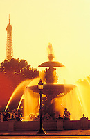 France, Paris, Place de la Concorde, fountain and Eiffel Tower