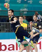 Spain's Gedeon Guardiola (l) and Australia's Tim Anderson during 23rd Men's Handball World Championship preliminary round match.January 15,2013. (ALTERPHOTOS/Acero) /NortePhoto