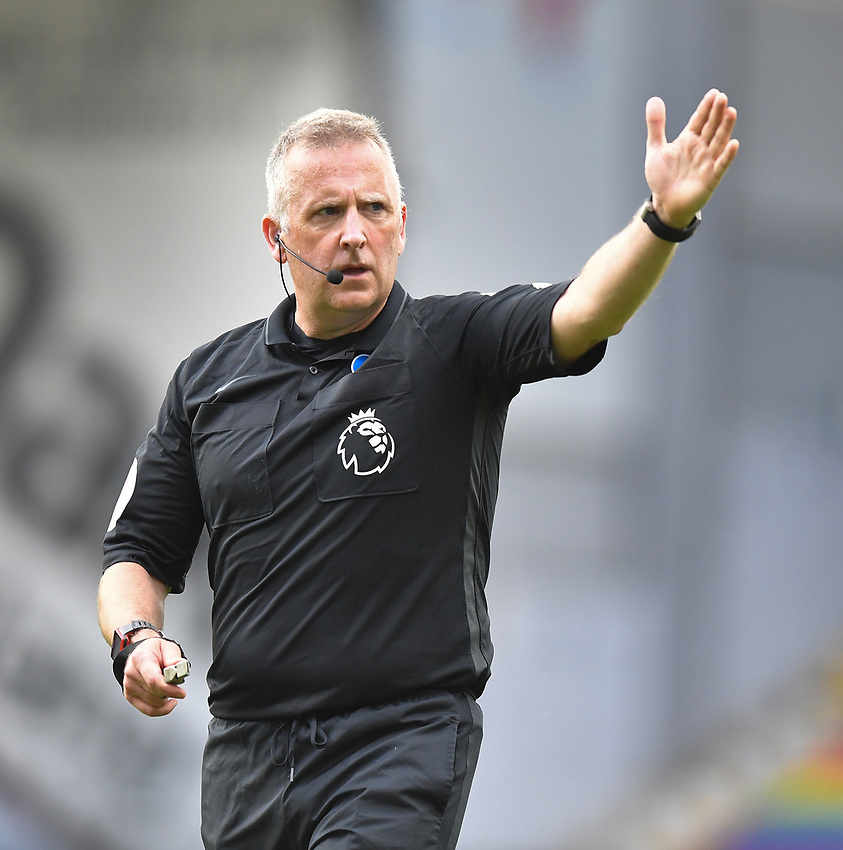 Referee Jon Moss<br /> <br /> Photographer Dave Howarth/CameraSport<br /> <br /> The Premier League - Burnley v Brighton & Hove Albion - Sunday 26th July 2020 - Turf Moor - Burnley<br /> <br /> World Copyright © 2020 CameraSport. All rights reserved. 43 Linden Ave. Countesthorpe. Leicester. England. LE8 5PG - Tel: +44 (0) 116 277 4147 - admin@camerasport.com - www.camerasport.com