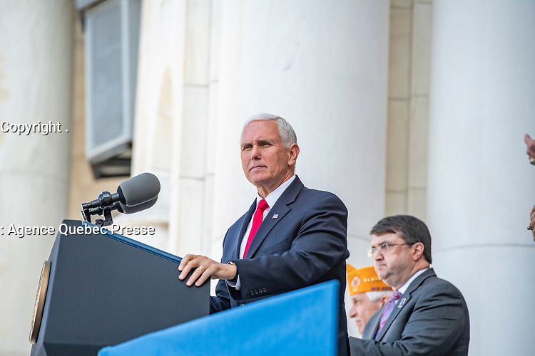 Vice President Mike Pence speaks during the National Veterans Day Observation in the Memorial Amphitheater at Arlington National Cemetery, Arlington, Virginia, Nov. 11, 2019. Vice President Pence laid a wreath earlier at the Tomb of the Unknown Soldier. (U.S. Army photo by Elizabeth Fraser / Arlington National Cemetery / released)