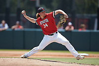 Northeastern Huskies starting pitcher David Stiehl (34) in action against the North Carolina State Wolfpack at Doak Field at Dail Park on June 2, 2018 in Raleigh, North Carolina. The Wolfpack defeated the Huskies 9-2. (Brian Westerholt/Four Seam Images)