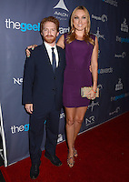 Seth Green, Clare Grant<br /> The first annual Geekie Awards at The Avalon Hollywood in Hollywood, CA., USA.  <br /> August 18th, 2013<br /> full length beard facial hair black suit purple dress tall short married husband wife <br /> CAP/ADM/BT<br /> ©Birdie Thompson/AdMedia/Capital Pictures