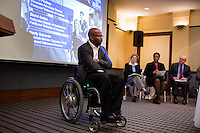 Sherman Gillums, Deputy Executive Director of the Paralyzed Veterans of America organization, speaks to employers about the importance of hiring military veterans at the Recovering Warrior Employment Conference at the Back Bay Event Center in Boston, Massachusetts, USA. The employment conference was organized by Hiring Our Heroes and Wounded Warrior Project. Hiring Our Heroes is an initiative of the US Chamber of Commerce Foundation. Approximately 40 veterans registered for the event, during which they had interviews with a number of different regional and national employers, including GE, Bank of America, Uber, and others.