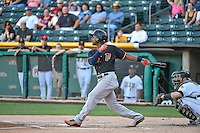 L.J. Hoes (28) of the Fresno Grizzlies at bat against the Salt Lake Bees in Pacific Coast League action at Smith's Ballpark on June 13, 2015 in Salt Lake City, Utah.  (Stephen Smith/Four Seam Images)