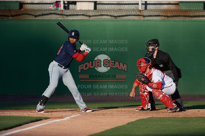 Salem Red Sox designated hitter Jose Sermo (16) at bat in front of catcher Taylor Gushue and umpire Thomas Roche during the first game of a doubleheader against the Potomac Nationals on May 13, 2017 at G. Richard Pfitzner Stadium in Woodbridge, Virginia.  Potomac defeated Salem 6-0.  (Mike Janes/Four Seam Images)