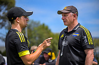 Hurricanes operations manager Johnny Schmitt talks to team manager Tony Ward during the Super Rugby Aotearoa preseason match between the Hurricanes and Chiefs at Maidstone Park in Upper Hutt, New Zealand on Saturday, 13 February 2020. Photo: Dave Lintott / lintottphoto.co.nz