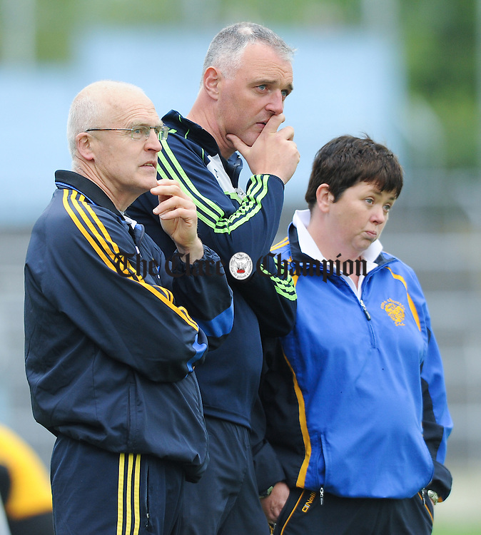 Clare manager Colm Honan with selectors Peter Casey and Patricia Casey on the sideline during the closing stages of their Division 1 National League Camogie Final against Kilkenny in Thurles. Photograph by John Kelly.