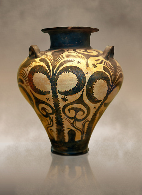 Three handled Mycenaean  Palace Style amphora with large palm trees symmetrically placed on the sides and smaller palm trees with floral motifs in between. This Mycenaean  vase is distinguished by the high quality of clay and paint, and by the naturalistic rendering of the decoration. From the Mycenaean cemetery at Argive Deiras, Greece. 15th Century BC. Cat No 6725 Athens Archaeological Museum.