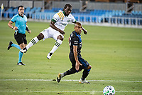 SAN JOSE, CA - SEPTEMBER 19: Diego Chara #21 of the Portland Timbers and Judson #93 of the San Jose Earthquakes during a game between Portland Timbers and San Jose Earthquakes at Earthquakes Stadium on September 19, 2020 in San Jose, California.