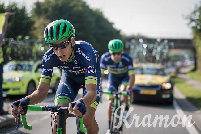 Carlos Verona (ESP/Orica-BikeExchange) escorting Michael Matthews (AUS/ORICA-BikeExchange) back to the peloton<br /> <br /> 12th Eneco Tour 2016 (UCI World Tour)<br /> stage 3: Blankenberge-Ardooie (182km)