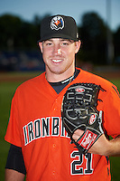 Aberdeen IronBirds pitcher Lucas Brown (21) poses for a photo before a game against the Batavia Muckdogs on July 15, 2016 at Dwyer Stadium in Batavia, New York.  Aberdeen defeated Batavia 4-2.  (Mike Janes/Four Seam Images)