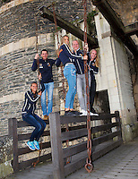 2016, 12 April, Arena Loire, Trélazè,  Semifinal FedCup, France-Netherlands,  Dutch team at the `Chateau, ltr: Cindy Burger, Captain Paul Haarhuis, Arantxa Rus,  Kiki Bertens, and Richel Hogenkamp <br /> Photo:Tennisimages/Henk Koster