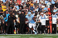 CHAPEL HILL, NC - SEPTEMBER 21: Carl Tucker #86 of the University of North Carolina runs up the sideline after catching a pass during a game between Appalachian State University and University of North Carolina at Kenan Memorial Stadium on September 21, 2019 in Chapel Hill, North Carolina.