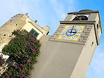 Clock Tower at the Pizaaetta of the Italian island of Capri.