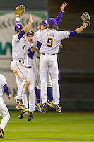 LSU Tigers Alex Bregman (8), Jake Fraley (23), Andrew Stevenson (6) and Mark Laird (9) celebrate winning the NCAA baseball game against the Houston Cougars on March 6, 2015 at Minute Maid Park in Houston, Texas. LSU defeated Houston 4-2. (Andrew Woolley/Four Seam Images)