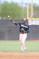 Westhers Magdaleno (92) of the AZL Padres throws between innings of a game against the AZL Rangers at the San Diego Padres Spring Training Complex on July 4, 2015 in Peoria, Arizona. Padres defeated the Rangers, 9-2. (Larry Goren/Four Seam Images)