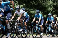 World Champion Alejandro Valverde (ESP/Movistar) surrounded by teammates. <br /> <br /> Stage 3: Binche (BEL) to Épernay (FRA) (214km)<br /> 106th Tour de France 2019 (2.UWT)<br /> <br /> ©kramon