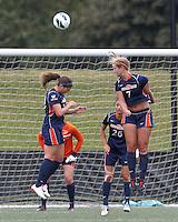Pepperdine University defender Mandy Davis (7) heads out a corner kick. Pepperdine University defeated Boston College,1-0, at Soldiers Field Soccer Stadium, on September 29, 2012.
