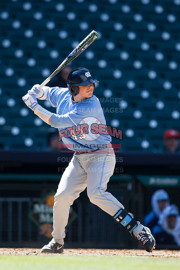 North Carolina Tar Heels catcher Korey Dunbar #43 at bat against the California Golden Bears in the NCAA baseball game on March 2nd, 2013 at Minute Maid Park in Houston, Texas. North Carolina defeated Cal 11-5. (Andrew Woolley/Four Seam Images).