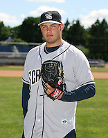 Daniel Morales of the Mahoning Valley Scrappers, Class-A affiliate of the Cleveland Indians, during the New York-Penn League season.  Photo by:  Mike Janes/Four Seam Images