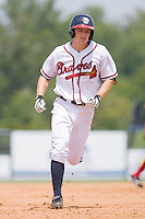 Phil Gosselin #30 of the Rome Braves rounds the bases after hitting a home run against the Greenville Drive at State Mutual Stadium July 25, 2010, in Rome, Georgia.  Photo by Brian Westerholt / Four Seam Images