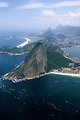 Rio de Janeiro, Brazil. Aerial view of the sugarloaf from the sea with Copacabana and the city of Rio behind.