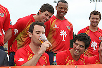 Essex captain James Foster samples the sponsor's beer as his team mates look on - Essex CCC Press Day at The Ford County Ground, Chelmsford - 05/04/11 - MANDATORY CREDIT: Gavin Ellis/TGSPHOTO - Self billing applies where appropriate - Tel: 0845 094 6026