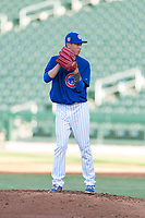 AZL Cubs 1 relief pitcher Chi-Feng Lee (39) gets ready to deliver a pitch during an Arizona League playoff game against the AZL Rangers at Sloan Park on August 29, 2018 in Mesa, Arizona. The AZL Cubs 1 defeated the AZL Rangers 8-7. (Zachary Lucy/Four Seam Images)