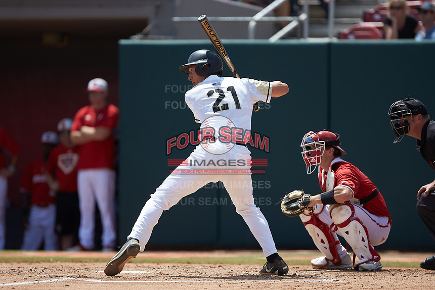 John McKenna (21) of the Army Black Knights at bat against the North Carolina State Wolfpack at Doak Field at Dail Park on June 3, 2018 in Raleigh, North Carolina. The Wolfpack defeated the Black Knights 11-1. (Brian Westerholt/Four Seam Images)