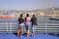 -  ferry of Moby Lines company leaves the port of Genoa....- traghetto della compagnia Moby Lines lascia il porto di Genova
