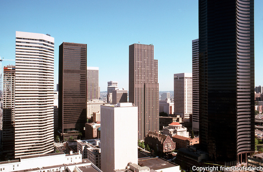 Seattle: Panorama from Smith Tower, looking north. Interstate Bank at left; Columbia Center at right. Photo '86.