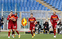 Roma's Gianluca Mancini, left, celebrates with his teammates, from second left, Bruno Peres, Stephan El Shaarawy and Chris Smalling. after scoring during the Italian Serie A Football match between Roma and Genoa at Rome's Olympic stadium, March 7, 2021.<br /> UPDATE IMAGES PRESS/Riccardo De Luca