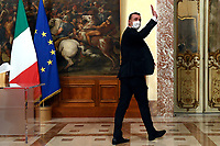 Giuseppe Conte's spokesman Rocco Casalino wearing a face mask during the press conference about the Government decree banning travel at Christmas in order to contrast Covid-19 emergency.<br /> Rome (Italy), November 18th 2020<br /> Photo Pool Augusto Casasoli Insidefoto