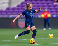ORLANDO, FL - FEBRUARY 21: Jaelin Howell #3 of the USWNT warms up before a game between Brazil and USWNT at Exploria Stadium on February 21, 2021 in Orlando, Florida.