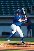 AZL Cubs 1 shortstop Josue Huma (13) at bat during an Arizona League playoff game against the AZL Rangers at Sloan Park on August 29, 2018 in Mesa, Arizona. The AZL Cubs 1 defeated the AZL Rangers 8-7. (Zachary Lucy/Four Seam Images)