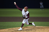 Virginia Tech Hokies relief pitcher Jaison Heard (38) in action against the Georgia Tech Yellow Jackets at English Field on April 16, 2021 in Blacksburg, Virginia. (Brian Westerholt/Four Seam Images)