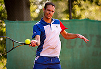 Hilversum, The Netherlands,  August 18, 2020,  Tulip Tennis Center, NKS, National Senior Championships, Men's single 35 + ,  <br /> Bennie van Es (NED) <br /> Photo: www.tennisimages.com/Henk Koster