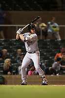 Scottsdale Scorpions right fielder Heath Quinn (45), of the San Francisco Giants organization, at bat during an Arizona Fall League game against the Salt River Rafters at Salt River Fields at Talking Stick on October 11, 2018 in Scottsdale, Arizona. Salt River defeated Scottsdale 7-6. (Zachary Lucy/Four Seam Images)
