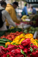 Red and yellow bell peppers at Farmer's Market in Copley Square on St. James Street Boston MA