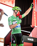 Green Jersey Fabio Jakobsen (NED) Deceuninck-Quick Step at sign on before Stage 5 of La Vuelta d'Espana 2021, running 184.4km from Tarancón to Albacete, Spain. 18th August 2021.      <br /> Picture: Charly Lopez/Unipublic   Cyclefile<br /> <br /> All photos usage must carry mandatory copyright credit (© Cyclefile   Unipublic/Charly Lopez)